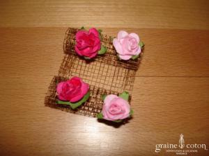 Création Alexia de Paris - Mini bibi en abaca et petites roses cuivre