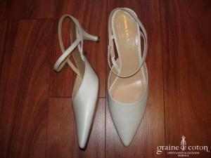 Parallèle - Escarpins (chaussures) en tissu et cuir ivoire