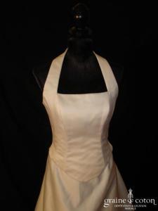 Hervé Mariage - Robe deux pièces ivoire en soie mélangée avec bretelle tour du cou