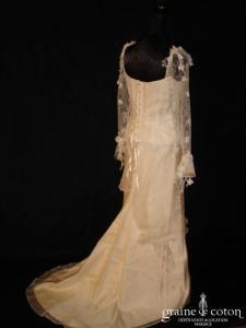 Cymbeline - Robe en dentelle, soie et organza de soie ivoire avec manches