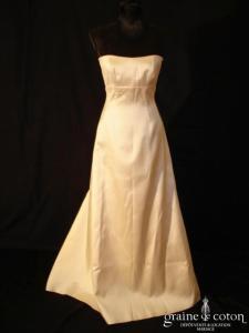 Mariées de Paris - Robe taille empire en mikado de soie ivoire
