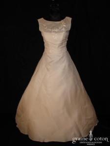 Balenciaga - Robe une pièce en gaze de soie ivoire