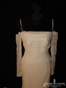 Rosi Strella - Robe une pièce ivoire taille basse en fine dentelle avec manches amovibles