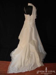 Linéa Raffaëlli - Robe deux pièces en taffetas de soie et mousseline plissée ivoire
