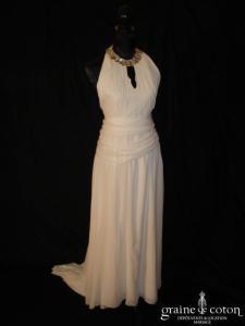 Création Balthazar - Robe à encolure américaine en mousseline de soie ivoire