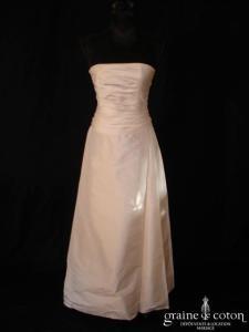 Romance - Robe une pièce drapée en soie sauvage ivoire