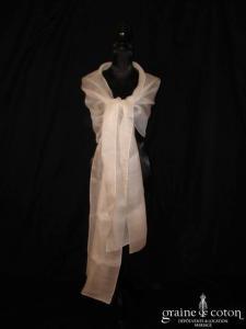 Pronovias - Étole en organza de soie ivoire