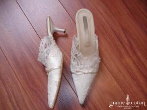 Cymbeline - Mules (chaussures) en dentelle de calais ivoire