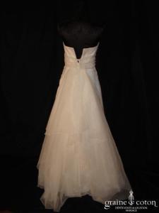 Mariées de Paris - Robe une pièce taille empire en organza ivoire