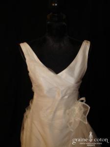 Marie Liesse Collection - Robe une pièce en soie sauvage et tulle ivoire