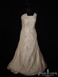 Mariées d'Elodie - Robe une pièce en taffetas ivoire (dentelle)