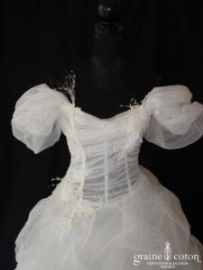 Max Chaoul - Robe une pièce en tulle, organza de soie, guipure de dentelle et plumes