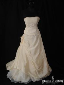 Caprice de mariée - Sylvette (champagne clair taffetas organza dentelle)