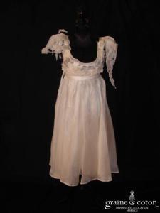 Monique Germain - Robe courte empire en organza de soie et bretelles