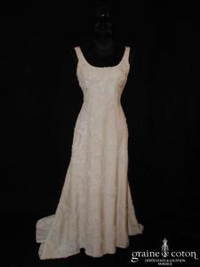 Cacharel (Corinne Sarrut) - Robe une pièce en soie brochée ivoire