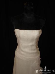 Célestina Agostino - Robe une pièce en organza de soie ivoire