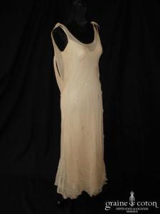 Fanny Lieutard - Robe en soie et sur robe en mousseline de soie champagne