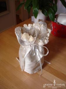 Petite bourse en soie sauvage ivoire