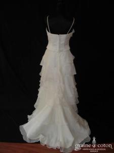 Bella - Robe deux pièces en organza ivoire (bretelles V volants)