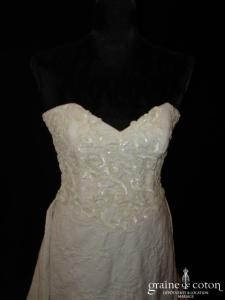 Torrente - Robe une pièce en piqué de coton ivoire et paillettes