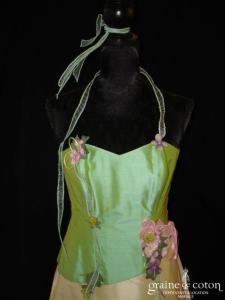 Elsa Gary - Robe deux pièces en soie sauvage vert amande et jaune (prototype)