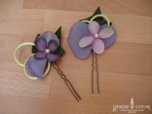 Elsa Gary - Pic à cheveux violet et vert avec fleur en tissu