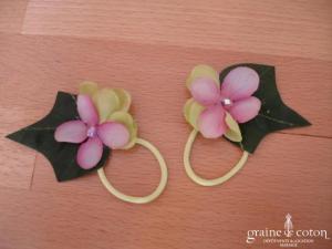 Elsa Gary - Paire de fleurs en tissu violet et vert pour décorer les chaussures
