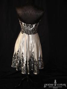Bain de nuit - Robe bustier courte en satin gris et velours noir