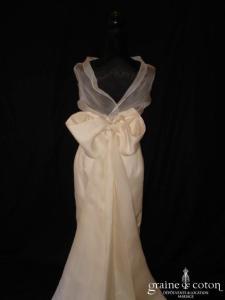 Création - Boléro à col bénitier en organza de soie, assorti à la robe n°1372