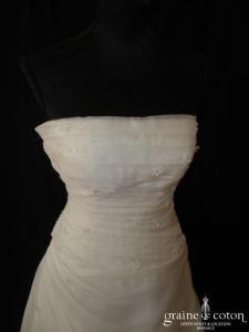 San Patrick (Pronovias) - Robe une pièce en organza drapé ivoire