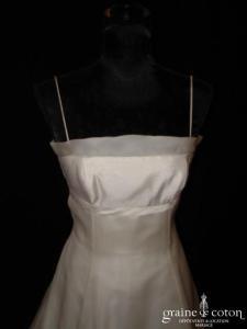 Création - Robe une pièce en soie sauvage et organza de soie ivoire (taille empire)