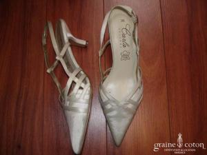 Carla Selvone - Escarpins (chaussures) en satin ivoire