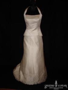 Linéa Raffaëlli - Robe deux pièces en organza de soie et satin de soie ivoire (tour de cou)