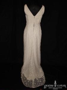 La Sposa - Robe longue en dentelle ivoire près du corps avec bretelles
