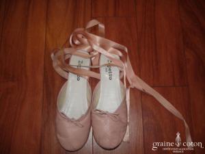 Repetto - Ballerines en cuir ouvertes avec rubans de satin rose