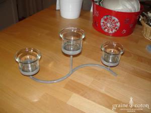 Bougeoir façon fer gris vieilli avec 3 verrines