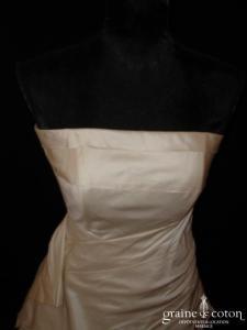Création Jean Marc Chauve - Robe deux pièces drapée en doupion de soie ivoire