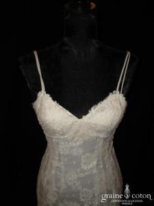 Harriet de Prag - Robe en soie fluide et dentelle de Calais faite main ivoire (sirène, bretelles)