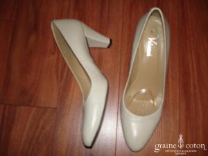 Valensi - Escarpins (chaussures) en cuir ivoire
