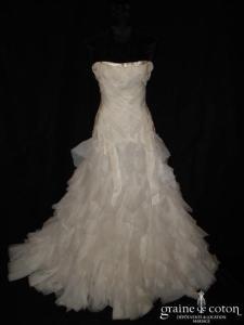 Mariées de Paris - Robe taille basse en mouchoirs d'organza ivoire