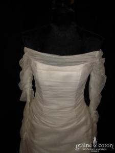 Pronuptia - Robe deux pièces ivoire (tulle plissé manches)