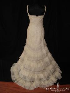 Pronovias - Robe fourreau en dentelle de coton et gaze de soie (taille basse sirène bretelles)