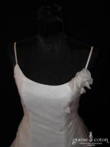Bella - Robe en organza blanc (bretelles)