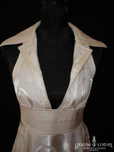 Armani - Robe courte en mousseline de soie ivoire clair (col tour cou)