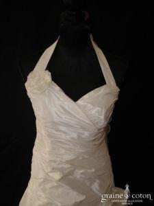 Linéa Raffaëlli - Robe en taffetas de soie ivoire (bretelle tour de cou drapé)