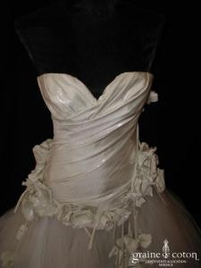Frédéric Alzra - Bustier taille basse argenté drapé et jupe en mouchoirs de tulle blanc
