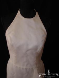 Jesus Peiro - Robe tour de cou en organza de soie ivoire (bretelles)