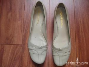 San Marina - Ballerines (chaussures) en cuir ivoire foncé