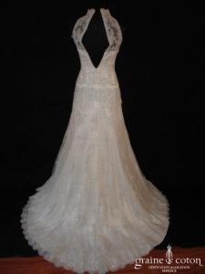 Mariées de Paris - Helaïde (sirène dentelle argentée fourreau bretelles tour de cou)
