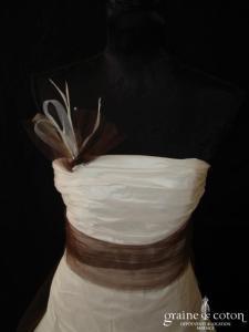 Bochet - Ebène version ivoire et chocolat (taffetas tulle drapé laçage)